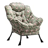 AbocoFur Modern Extra Large Cotton Fabric Lazy Chair, Accent Contemporary Lounge Chair, Reinforced Steel Frame Leisure Sofa Chair with Armrests and A Side Pocket, Flower Print