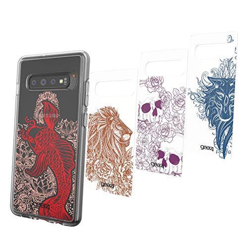 Preisvergleich Produktbild Gear4 Chelsea Pack of 4 Swappable Panels / Packung mit 4 Austauschbar Panels Kompatibel mit Crystal Palace und Piccadilly kompatibel mit Samsung Galaxy S10+ - Tattoo Art