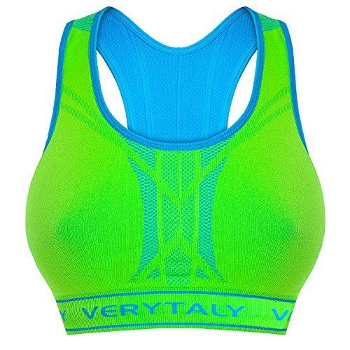 Bongual Bügelloser Wende Sport-BH Neon Farben Stretch Bustier,BH-Top Seamless Nahtlos (Neongrün/Türkis, 34)