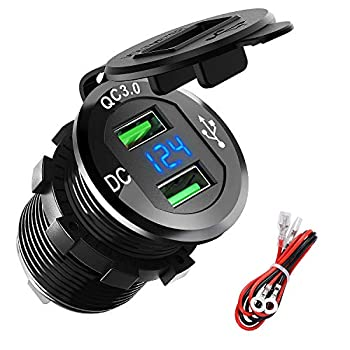 Quick Charge 3.0 USB Charger Socket ADSDIA 12V/24V 36W Aluminum Waterproof Dual QC3.0 Car Charger Power Adapter Outlet with LED Display for Car Boat Marine Motorcycle Scooter RV Golf Cart DIY Kit