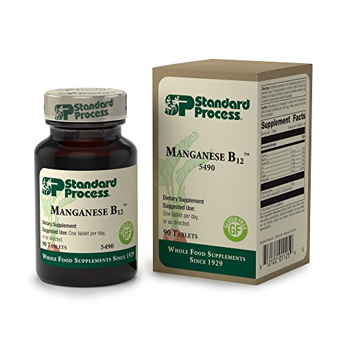 Standard Process - Manganese B12 - Supports Normal Tissue Repair Process and Connective Tissue, Provides Antioxidant Vitamin C, Vitamin B12, Iron, Zinc, Copper, Manganese, Gluten Free - 90 Tablets