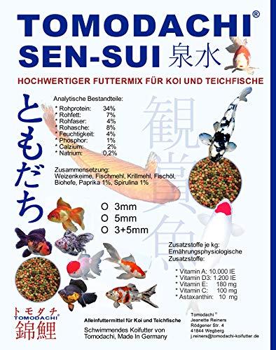 Tomodachi Sen-Sui - Gartenteichfischfutter in 4Color rot-grün-weiß-braun, Größe 5mm Pelletgröße