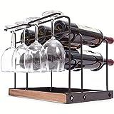 Kingrack - Portabottiglie da 6 bottiglie di vino, portabottiglie da appoggio in metallo, in rame, per bicchieri di vino