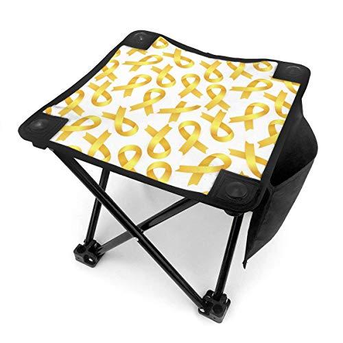 Taburete plegable duradero con cinta amarilla para concienciación sobre el cáncer infantil...