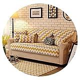 Krystal_beautiful Europe 100% Cotton Sofa Cover Set Plaid Stripe Printed Thick Sofa Pad Towel Handmade Patchwork Quilting Slip Resistant Seat Mat,A,110x180cm