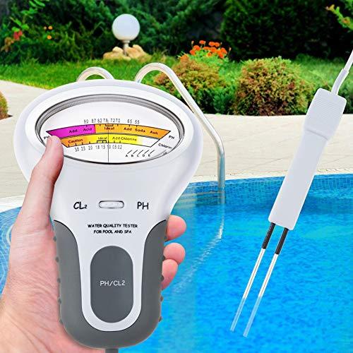RENNICOCO Medidor Digital portátil de pH 2 en 1 de Calidad del Agua y Nivel de Cloro CL2 Medidor para Piscina SPA Monitor de análisis de Calidad del Agua Potable PH CL2 Probador de Cloro