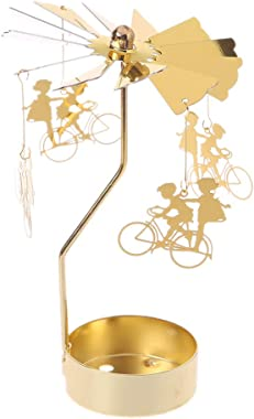 jackyee Golden Rotating Candlestick - Little Magic E Spinning Rotary Carousel Tea Light Candle Holder Stand Light Gift Weddin