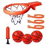 DEWEL Juguetes de Baño Bebe Pelota de Baloncesto para niños con Ventosa Fuerte Fácil de Instalar con Dos Pelotas y Inflador Canasta Baloncesto Infantil