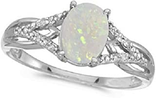14k Gold Oval Opal and Diamond Cocktail Ring (0.70ct)