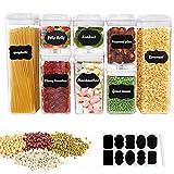 Simplebreeze Lot de 8 récipients alimentaires en plastique 0,5 l / 0,8 l / 1,2 l / 1,9 l / 3,1 l avec étiquettes de...