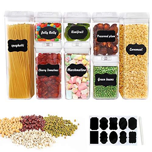 BAKHK 8er-Set Vorratsdosen Set Frischhaltedosen Kunststoff Vakuumbehälter Aufbewahrungsbox 0.5L/0.8L/1.2L/1.9L/3.1L mit Aufklebern und Stift