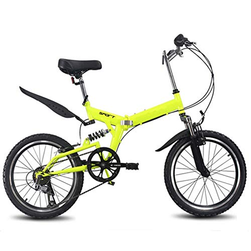 Pliuyb 20inch Folding Bike 6 Variable Speed Bicycle Road Bike Children's Mountain Bike Portable Lightweight Folding Bicycle (Color : Yellow)