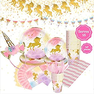 Unicorn Birthday Party Supplies Set, Serves 16 – Happy Birthday Banner Kit, Plates, Napkins, Cups, Straws, Pink Utensils, Balloons, Cute Horn Headband – Whimsical Decorations Decor Pack for Girls Parties
