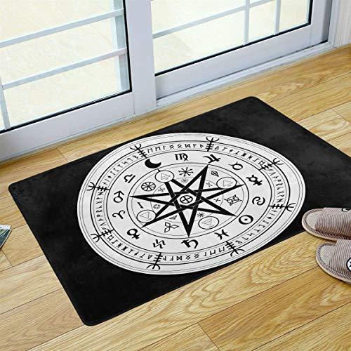 Mr.Lucien Felpudo de bienvenida con diseño de disco de constelación para cocina, baño, porche, lavandería, sala de estar, alfombra lavable, 91,4 x 60,9 cm 2020176