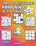 Libro de actividades para niños de 5 a 7 años: 6 en 1 - Sopa de letras, Sudoku, colorear, laberintos, KenKen y tres en línea (Vol.1)