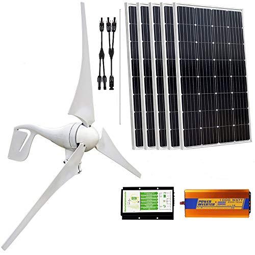 ECO-WORTHY 900 W Panel Solar y de viento turbina recargable Kit de carga: 400 W viento generador controlador de carga con palo + 5pcs 100 W Poly paneles solares + 1000W Off inversor de carga MPPT grid