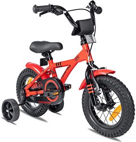 Prometheus bicicletta bambini 3-5 anni da 12 Pollici per Bambino e Bambina con rotelle e contropedale BMX Modello 2021 in Rosso e Nero