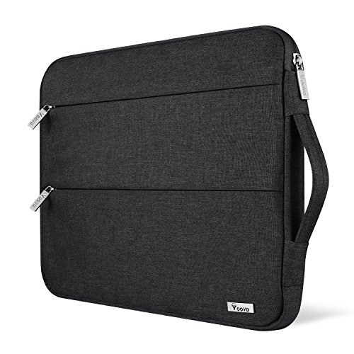 Voova 15 15.6 14 Inch Laptop Sleeve Case with Handle Compatible with MacBook Pro /15' Surface Book 2 /XPS 15 /Chromebook/HP/Lenovo, Waterproof Protective Cover Bag with 2 Accessory Pockets-Black