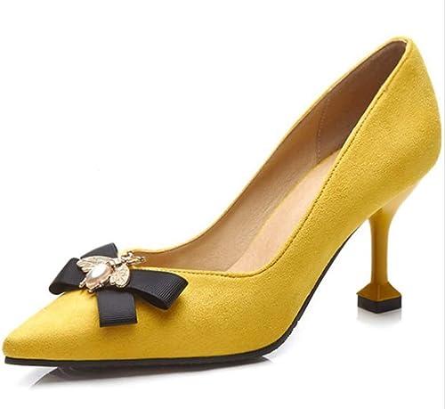 LIANGXIE Ladies damen Classic Slip On Pointed Toe High Heel Low Mid Kitten Heel Pumps Pointed Toe Work Court Pumps schuheGröße