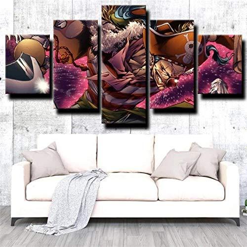 SESHA 5 Piezas Lienzo Poster Cuadros Modernos Impresión De Imagen Artística Digitalizada Pirata Anime Buggy El Payaso(Sin Marco)