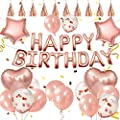 WallDecalsAndArt Birthday Decorations Party Supplies Set 48 PCS, Balloons?15.7 inches?, Happy Birthday Balloons Banner Bunting, Tassels, Double Sided Glue Point, Pump?Party Supplies (Rose Gold)