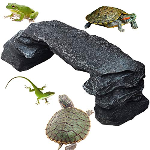 PINVNBY Turtles DockBasking Platform Lizard Habitat Ramp Rock Hiding Cave Reptile Climbing Step Ledge Stone Terrarium Ornament Tortoise Island for Newts Amphibians Frog