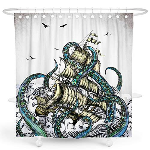 DESIHOM Octopus Duschvorhang Kraken Duschvorhang nautischer Duschvorhang Ozean Duschvorhang Meeresleben Anime Duschvorhang Cool Duschvorhang Segelboot Polyester Wasserdicht Duschvorhang 72x72