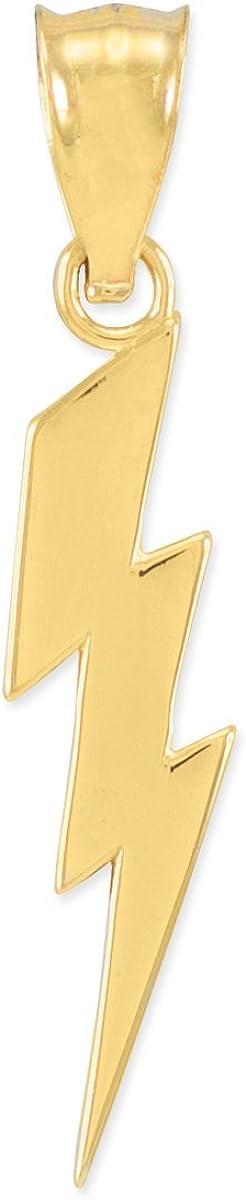 Polished 10k Yellow Mail order Gold Genuine Charm Bolt Pendant Lightning
