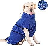HAPPY HACHI Mikrofaser Hunde Bademantel Badetuch Hundebademantel Waschbare Super Saugfähig Feuchtigkeit Schnell Trocknend Handtuch Strandtuch für Kleine Mittlere und Große Hund Katze Blau M
