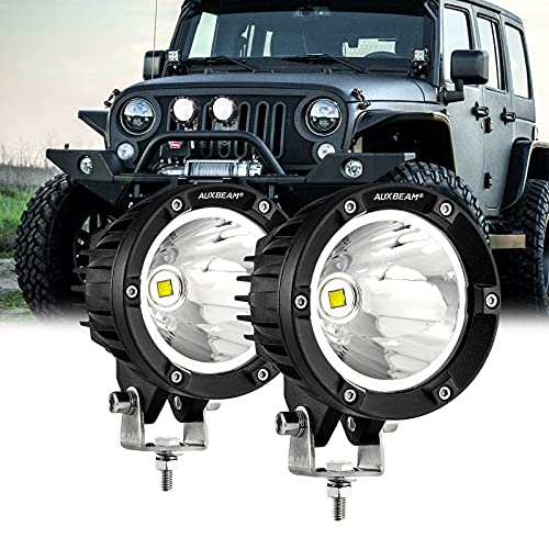 Auxbeam 4 Inch Round Driving Lights, Offroad LED Light Pods 36W Spot Lights with 7070 LED Chips Fog Lights Fit for Jeep Vehicle Truck SVU Motorcycle UTV (White Beam)