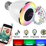 Ampoule LED Bluetooth avec Enceinte Musique, Ampoule Couleur sans fil Smart, Intelligente RGBW LED E27 Doux Chaud Multicolore Enceinte Stéréo Bluetooth Télécommande par IOS, Android pour Maison