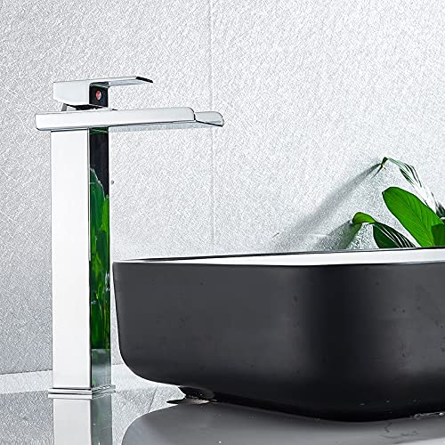 Grifo de la cocina Grifo de lavabo cuadrado cromado y negro con cascada, grifo mezclador de baño, grifo de caño ancho, fregadero de recipiente, grifo de agua fría y caliente