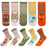 5Pairs Animals Children Socks for Boy and Girl, Soft Cute Cartoon Animals Pattern Spring Autumn Daily Slipper Socks for Kids Lovely Teen Gift for New Year Animal Theme Party (M for 2-4 Years)