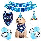 Cumpleaños para Perros,Bandana Cumpleaños Perro,Set de Cumpleaños para Mascotas,Perro Cumpleaños,Decoracion Cumpleaños para Perros,Regalo de Perros(Azul)