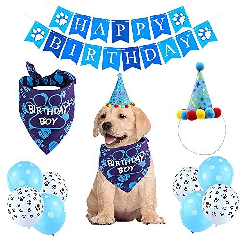 Hund Geburtstag Bandana,Hund Geburtstag Deko,Hundegeburtstagsparty,Hund Geburtstagshut,Hund Geburtstag Bandana Hut Banner Set,Dog Birthday Boy,Dog Happy Birthday(Blue)