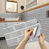 Pegatinas de Baldosas, Adhesivo de Pared Azulejos Adhesivo de Pared PVC Decorativos Adhesivos para Cocina y Baño Ladrillos pared Gris 15 x 30 cm (12 Piezas)