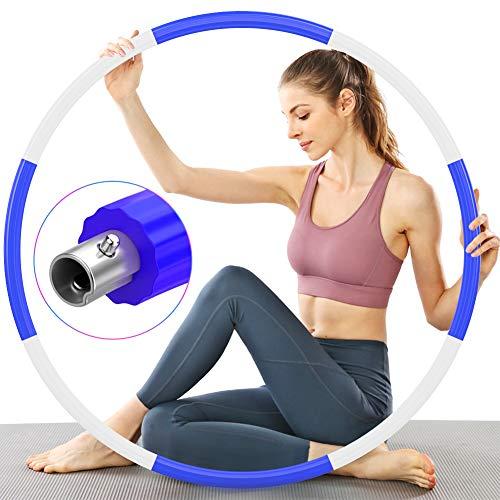 TTMOW Reifen Hoop Erwachsene für Fitness, Verbesserter Reifen Hoop Edelstahlkern mit Dicker Premium Schaumstoff, Stabiler, Komfortabler und Längeres Leben, 1,2 kg zum Abnehmen (Lila - Weiß)