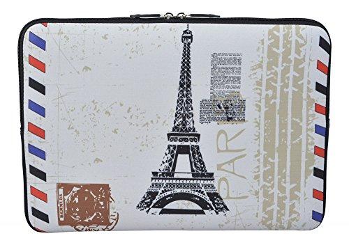 MySleeveDesign Laptoptasche Notebooktasche Sleeve für 10,2 Zoll / 11,6-12,1 Zoll / 13,3 Zoll / 14 Zoll / 15,6 Zoll / 17,3 Zoll - Neopren Schutzhülle mit VERSCH. Designs - Paris Stamp [17]
