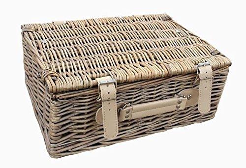 Red Hamper Antique Wash Empty Picnic Basket, Brown, Height 23cm x Width 30cm x Depth 15cm