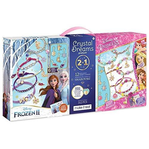 Make It Real - Disney Crystal Dreams Mega Set 2 in 1 Princess + Frozen 2 - DIY Bead & Charm Bracelet Making Kit - Kids Jewelry Making Kit with Swarovski Crystals & Exclusive Disney Princess Books