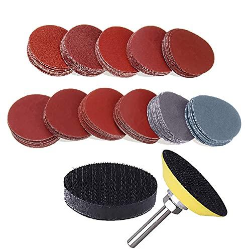 Dischi abrasivi per smerigliatrice, 300 pezzi, kit per trapano e smerigliatrice, con piastra di supporto da 1 4 , include carta vetrata 60, 80, 120, 180, 240, 400, 600, 800, 1000, 2000, 3000