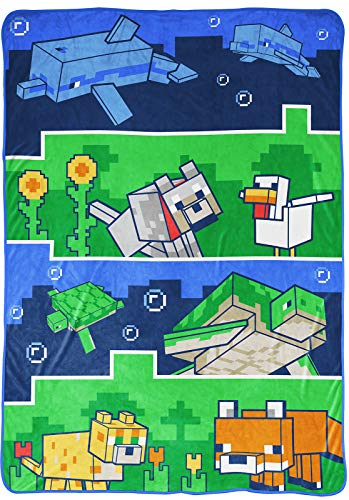 Jay Franco Minecraft Animal Patch Blanket - Measures 62 x 90 inches, Kids Bedding - Fade Resistant Super Soft Fleece (Official Minecraft Product)