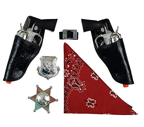 Imprints Plus Black and Chrome Colored Finish Western Cowboy Gun Set with Red Bandanna, and 2 Silver Badges (blk Chrome)