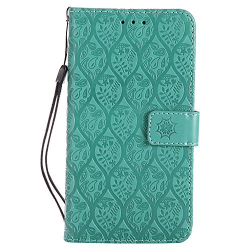 DENDICO Cover Huawei P9 Lite, Flip Libro Portafoglio Custodia in Pelle per Huawei P9 Lite - Verde