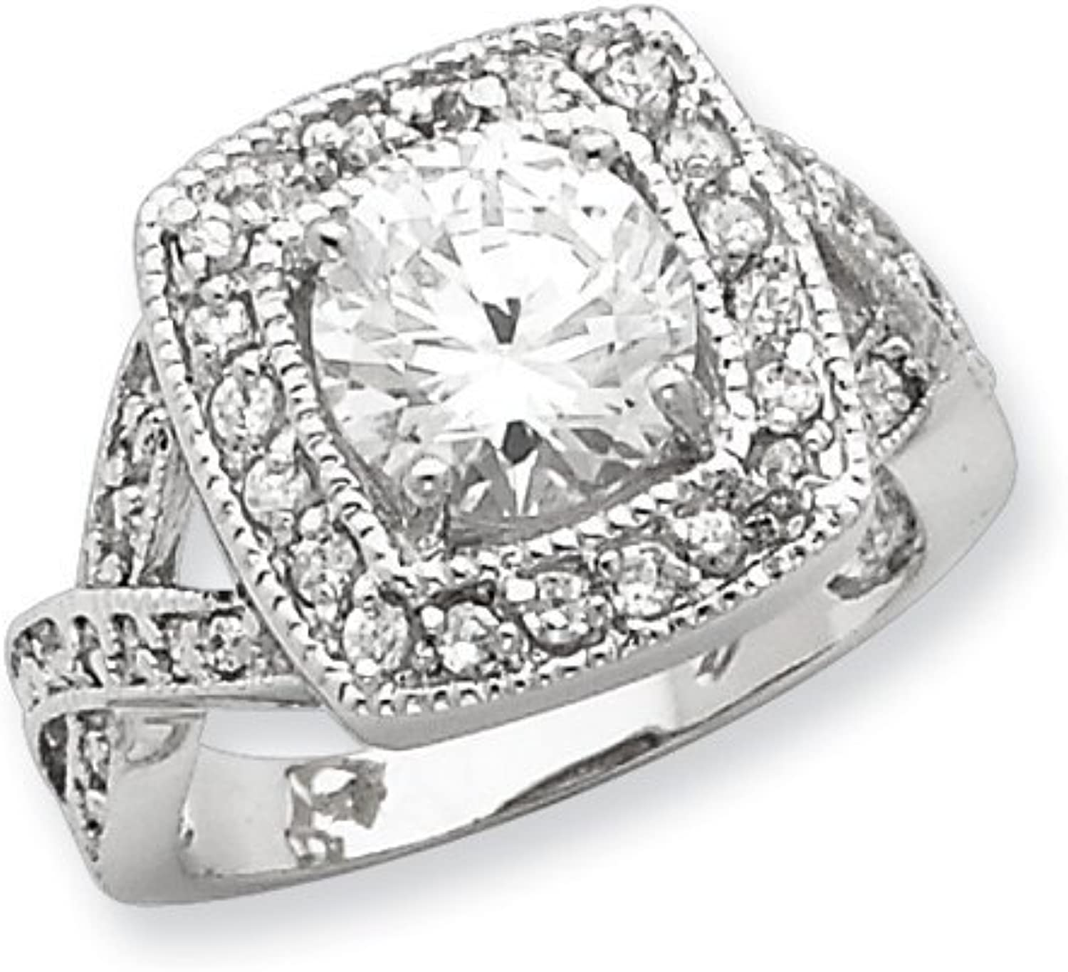 gold and Watches Sterling Silver Round 8.10mm CZ Ring