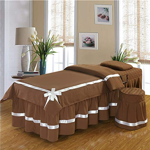 Copper Europäische Beauty-Bett-Abdeckung, Dickes gewebe Massage Tisch plansatz Arco Bettrock Blatt Vierteilige Set Körper-begasung-Physiotherapie Massage bettdecke -Kaffee 60x180cm(24x71inch)