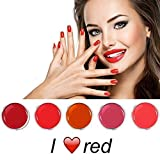 EuBeCos I Love Red Farbgel Set 5 x 5 ml in STUDIO HIGH END QUALITÄT - MADE IN GERMANY!