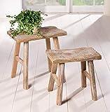 2 Holz-Hocker'Rustikal' im Antik Stil, Blumenständer, Blumenhocker, Gartendeko, Sitzhocker, Fußhocker