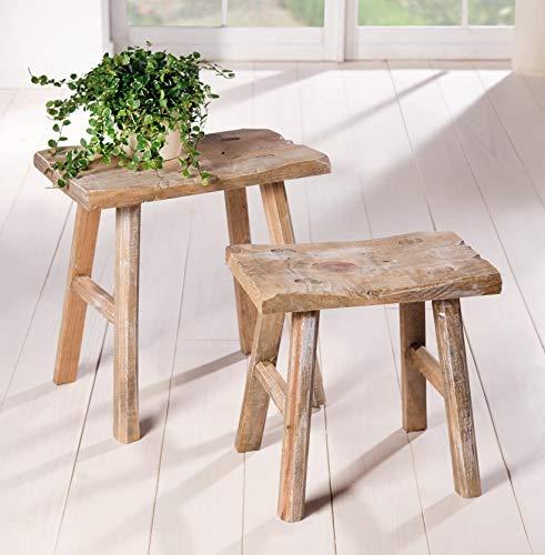 2 Holz-Hocker