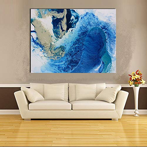 wojinbao Resumen de Lienzo de Arte de Pared Abstract Canvas Art Oil ng Blue Abstract Wall Pictures para la Sala de Estar Decoración del hogar sin Marco